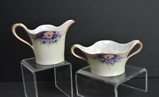 RS Silesia Creamer & Sugar, Hand Painted One Signed, Luster, Gilt Unharmed