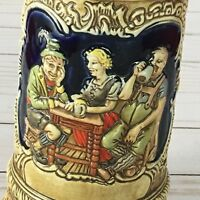 Vintage Ceramarte Beer Stein Mug w/ Tavern Bar Scene & German Sayings Cheers