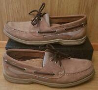 SEBAGO Docksides Boat Shoes 9.5N Brown Leather 3 Eye Nautical Mens Casual 71141