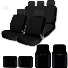 NEW BLACK FLAT CLOTH CAR TRUCK SEAT COVER SET W VINYL FLOOR MATS FOR VW