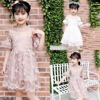 New Flower Girl Princess Dress Kid Party Wedding Bridesmaid Pageant Lace Dresses