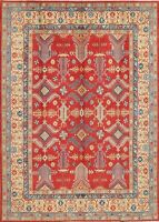 RED/IVORY 9'x13' Geometric Kazak Pakistani Hand-Knotted Oriental Large Area Rug