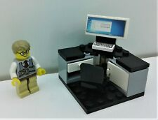 Lego City Businessman Lawyer Office Setup. Swivel Chair. Desk. Computer. Custom
