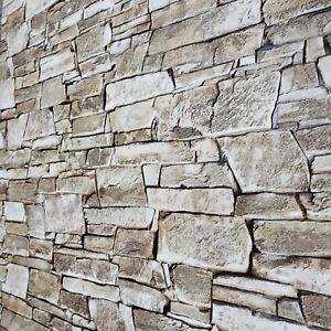 Vinyl Wallpaper roll textured brown modern wallcoverings faux stone texture 3D