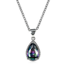 18K White Gold Plated Colorful Zircon Water Drop Pendant Necklace For Women N930
