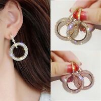 Fashion Geometric Round Earrings Women Bling Crystal Ear Hoop Party Jewelry Gift