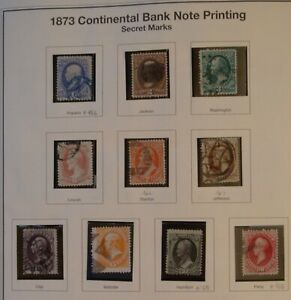USA 1873 1-90c series complete #156-166  with Fancy cancel  Cat. $950