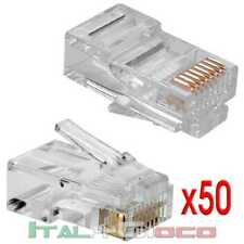 50x PLUG CONNETTORI RJ45 LAN-ETHERNET CAVO DI RETE 8P8C