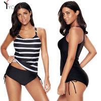 Womens Swimwear Stripes Plus Size Tankini 2 Pieces Swimsuit Double Halter Straps