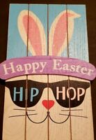Wooden Hip Hop Stand Up Easter Bunny Decor Painted Decoration
