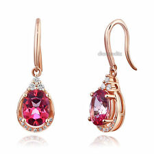 14K Rose Gold Dangle 1.6 Ct Natural Pink Topaz Earrings 0.185 Ct Diamond Wedding