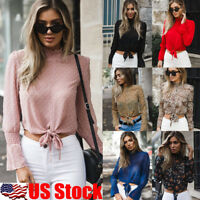 Women Chiffon Turtle Neck Tops Summer Ladies Long Sleeve Lace Up Blouse T Shirt