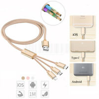 3 in 1 Multi USB Charger Cable Charging Cord For iPhone Samsung LG Sony Moto ZTE