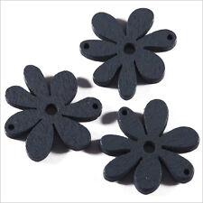 Lot de 10 Fleurs Perles en Bois 25mm Gris Foncé
