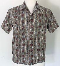 Vintage Men's Medium Nui Nalu Hawaii Barkcloth Tapa Print Hawaiian Aloha Shirt