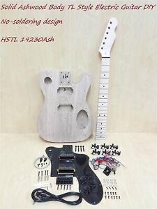 Haze 19230AshBH Solid Ashwood Body Electric Guitar DIY Kit, No-Soldering, H-H