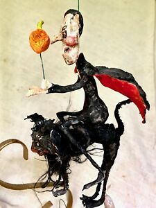 "HANDMADE CREEPY HALLOWEEN WICKED DRACULA RIDING SCRAGGY BLACK CAT  8 1/2"""