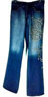 Sz 28 US Etro Milano Italy Runway Womens Embellished Crystal Rivet Jeans