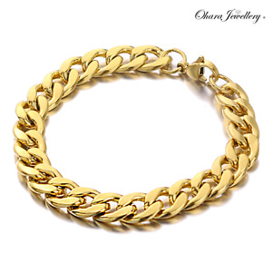 """18K Yellow Real Solid Gold Filled Round Curb Cuban Chain 8"""" Bracelet Jewellery"""