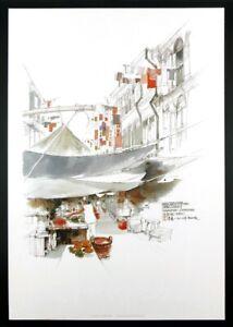 WAN SOON KAM - CHINA TOWN - Pen & Wash Lithograph Print - 36cm x 25cm