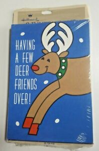 Vintage Hallmark Christmas Party Invitations Reindeer Packs of 8 NOS