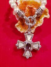 Judith Ripka Amethyst Diamonique Maltese Cross Pendant Pearl Necklace QVC $400