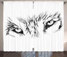 Tattoo Curtains Winter Animal Wild Wolf Window Drapes 2 Panel Set 108x84 Inches