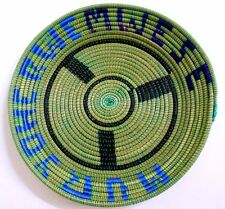 African MWESE Hand Woven Round Green Basket NEW