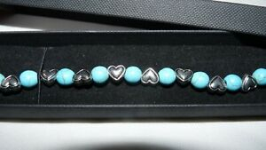 """Silver Hearts Turquoise Beaded Link/Chain Bracelet. 7-8⅓"""" 💙 Lovely Gift x"""