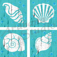 Sea Shells 10cm x 10cm Set Of Four Art Prints