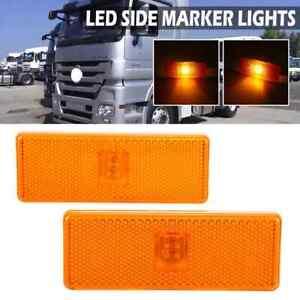 2pcs LED Side Marker Lights Amber Reflector For Mercedes Actros Atego Axor E9