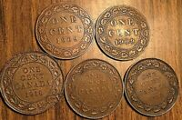 LOT OF 5CANADA LARGE CENT COINS