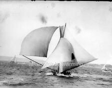 Old Photo.  Sydney Harbour, Australia.  18ft Sailboat on Windy Day