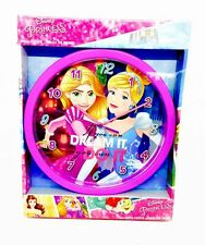 DISNEY PRINCESS 25 CM CHILDREN'S BEDROOM WALL CLOCK OFFICIAL GIRLS GIFT NEW