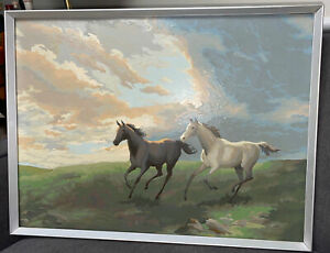 """Vintage Completed PAINT BY NUMBER 33""""x17"""" Horses Running in a Field"""