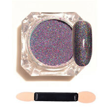 1g/Bottle Purple Starry Holographic Laser Mixed Glitter Nail Art Powder + Brush