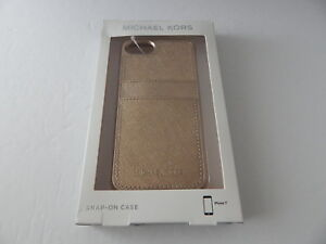 Michael Kors Saffiano Leather Snap On Case for iPhone 8 iPhone 7 Pale Gold New