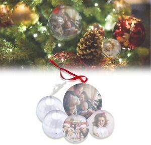 Palline Natale trasparenti personalizzate - 5 Palline in plastica + stampa foto