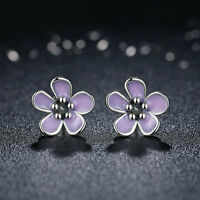 Authentic 925 Sterling Silver Cherry Blossom Stud Earrings with Purple Enamel