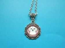 Maltese Dog Necklace & Pendant Glass Metal Chain Silver Tone Pink Puppy