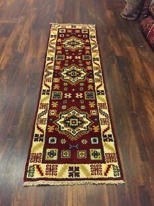 "On Sale  Hand Knotted Indo Kazak Oushak Geometric Area Rug Carpet 2'1""x6'9"",48"