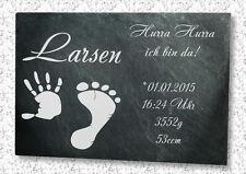 Wunschgravur Baby Schieferplatte Geburt Geschenk Taufe Kind Motiv Hand & Fuß