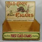 Early 1900's Old Coon Cigar Wooden Paper Label Large Store Counter Display Box