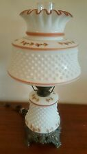 Vintage Accurate Casting Milk Glass Hobnail Gone With The Wind Lamp Hand Paint