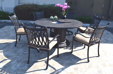 Cast Aluminum 7 Piece Round Propane Firepit Dining Table Grand Tuscany Set