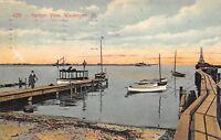 Waukegan Illinois 1913 Postcard Harbor View Boats Docks