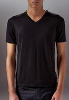 Marteino Men's V Neck Full Plain Black Tee Shirt | Short Sleeve | Classic Slim F