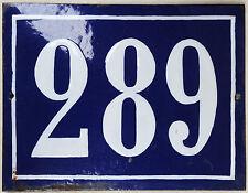 Large old blue French house number 289 door gate plate plaque enamel metal sign