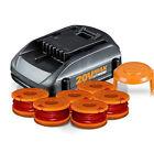 WORX 20V MaxLithium Tune Up Kit  (1) Battery, (1) 6pk Spools, (1) Cap Cover
