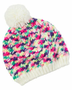 Carter's Knit Fleece-Lined Pom Pom Hat Rainbow Size 12-24m MSRP: $20.00 NEW NWT